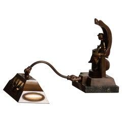 1920s French / Belgium Brass Art Deco Piano Lamp on Belgian Black Marble Base