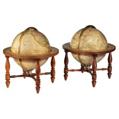 Pair of Table Globes by Josiah Loring, Dated 1844 and 1841