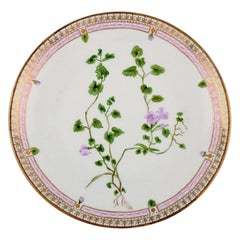 Dinner Plate in Flora Danica Style, Hand-Painted Flowers and Gold Decoration