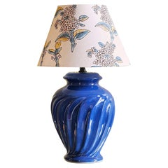 Vintage Ceramic Table Lamp with Customized Shade, France 1970's