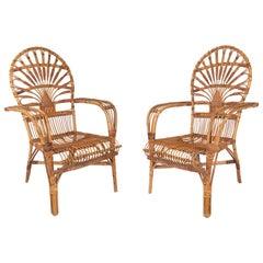 Pair of 1970s Spanish Bamboo Armchairs