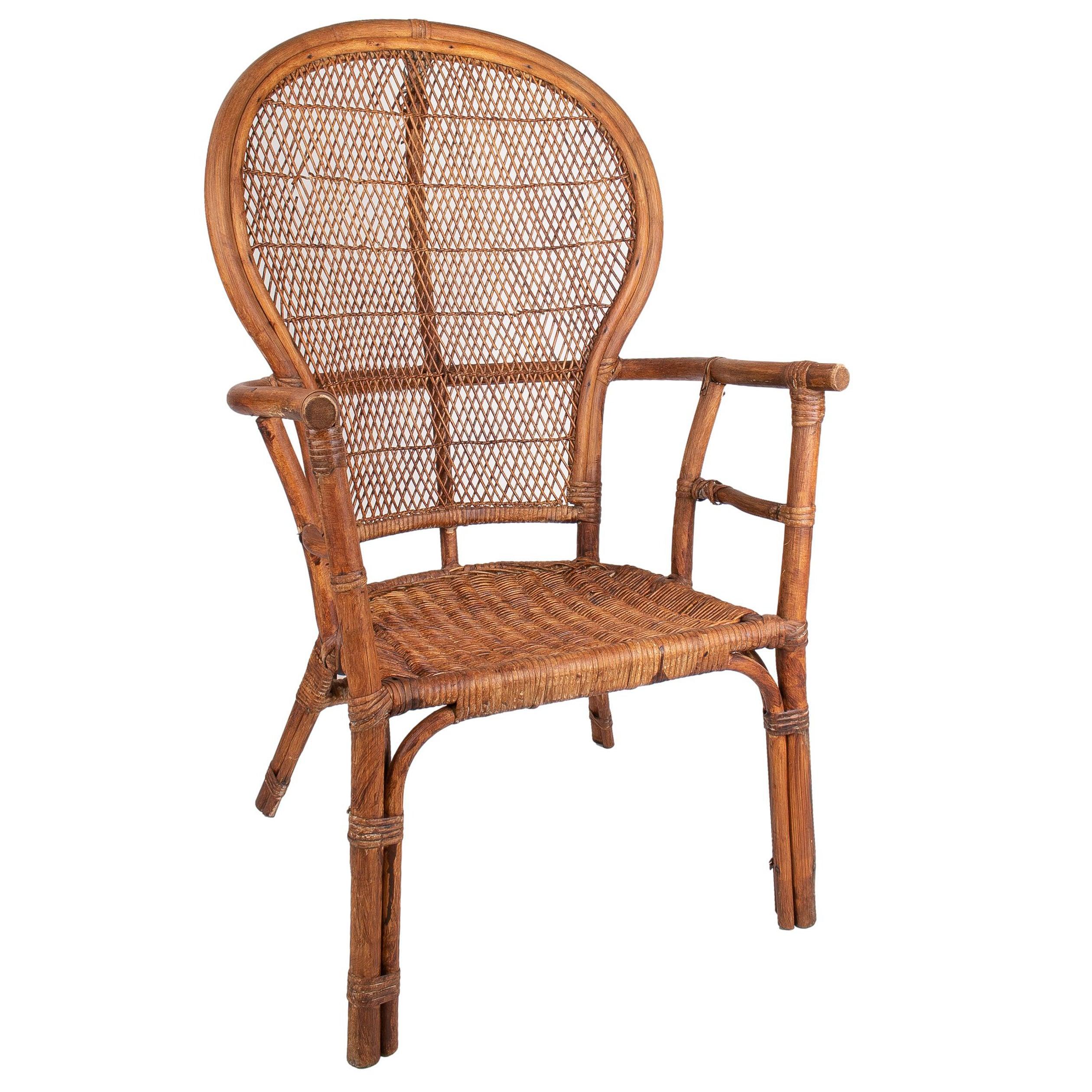 1950s Spanish Bamboo Armchair