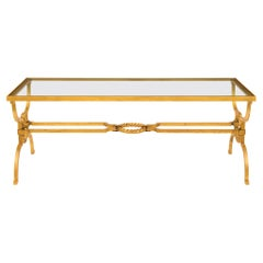 French Late 19th Century Louis XVI St. Gilt Iron and Glass Coffee Table