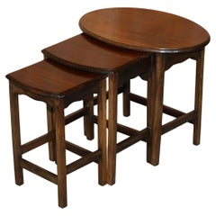 Lovely circa 1940's English Hardwood Nest of Three Side End Lamp Wine Tables