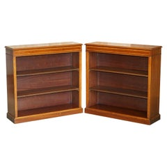 Pair Sheraton Revival Hardwood & Walnut Inlaid Dwarf Library Open Bookcases