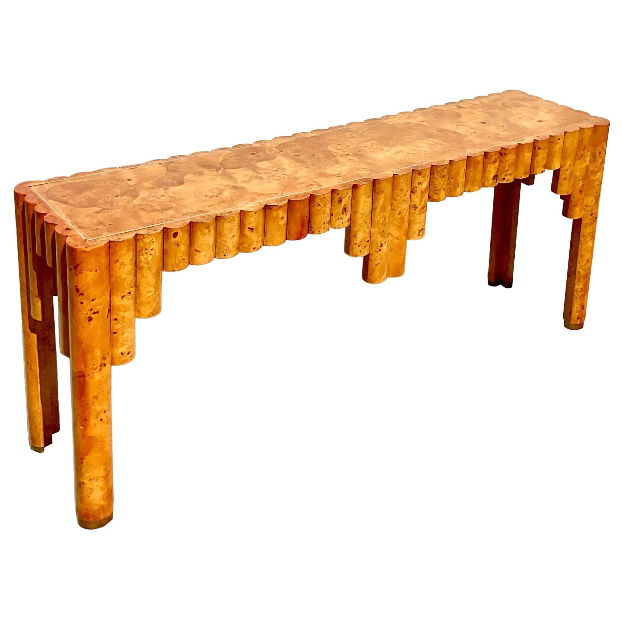 Postmodern Italian Burl Wood Console Table