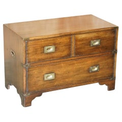 Hardwood Harrods London Kennedy Military Campaign Chest of Drawers Tv Stand