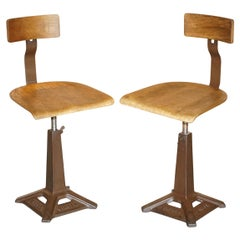 Pair of Antique Singer Sewing Machine Work Chairs Height Adjustable Bar Stools