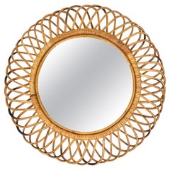 Mid-Century Modern Rattan and Bamboo Round Wall Mirror, Italy, 1960s