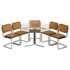 Rare Vintage Made in Italy Marcel Breuer Cesca Five Dining Chairs & Table Glass