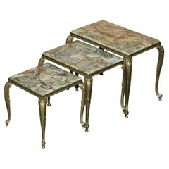 Lovely Nest of Three Brass & Onyx Vintage circa 1940's French Lamp Wine Tables