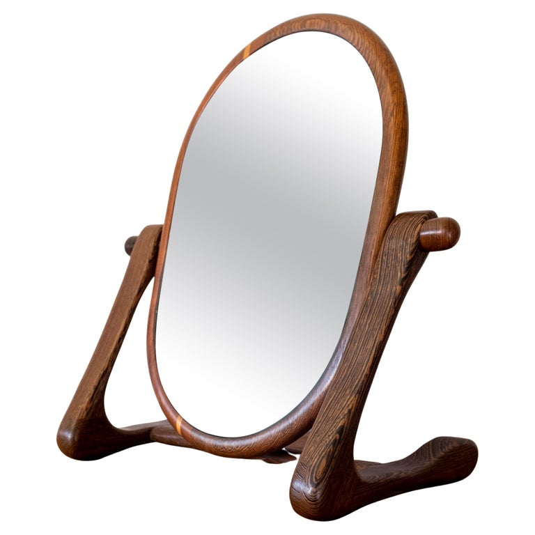 Handcrafted Mixed Wood Table Top Mirror, 1960s For Sale