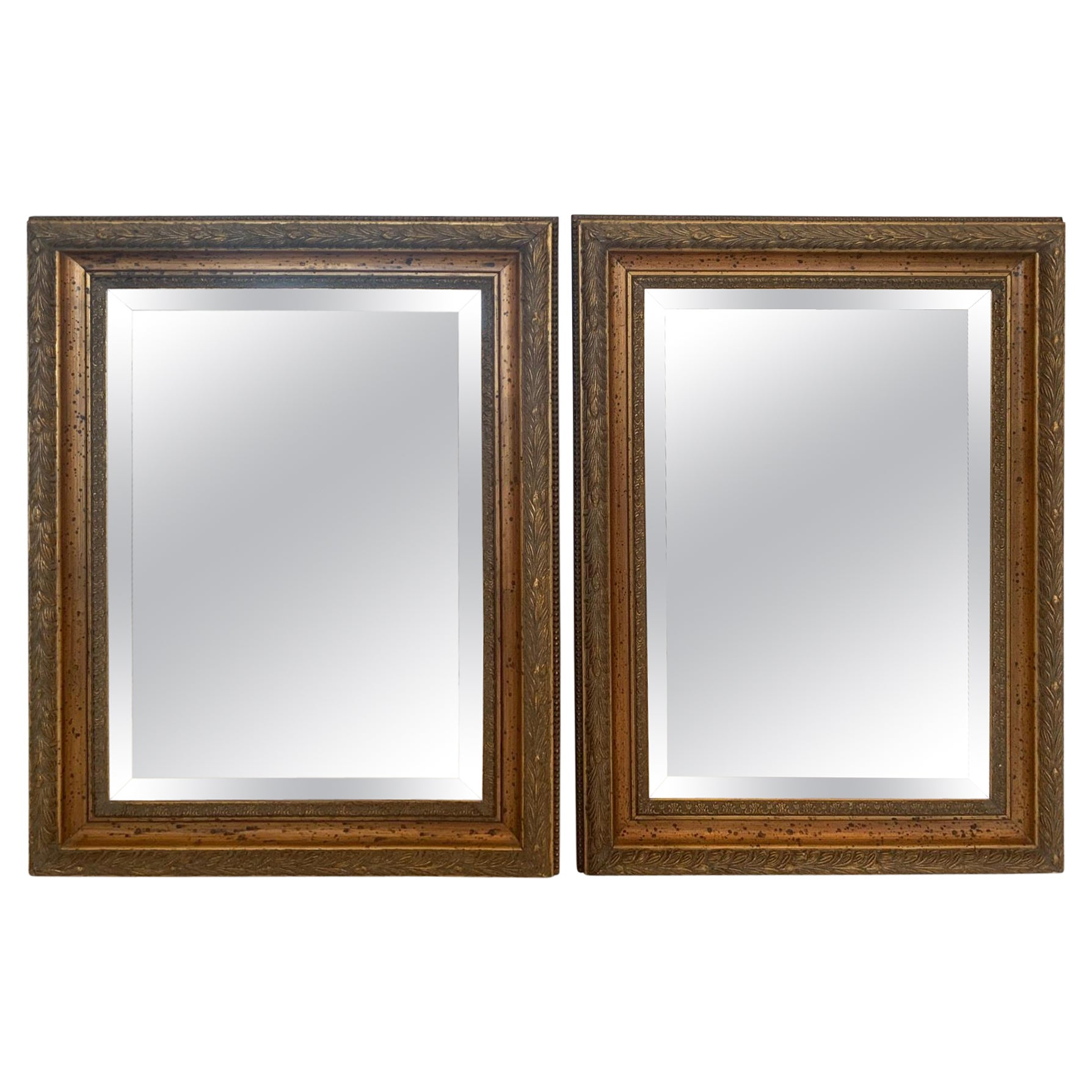 Classic Pair of Giltwood Rectangular Bevelled Mirrors