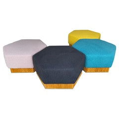 Set of Modular Pouf Wood and Brass in Bouclé, Italy, 1980s