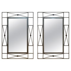 Cool Pair of Iron Contemporary Industrial Wall Mirrors