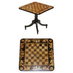 Stunning circa 1860 Gold Leaf Ebonised Chess Table Aesthetic Movement Taste