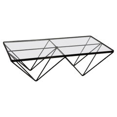 """Steel and Glass Coffee Table """"Alanda"""" by Paolo Piva for B&B Italia, 1980s"""