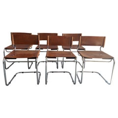 "Mid-Century Modern Set of 6 Italian Leather ""Terrj"" Chairs by Luigi Saccardo"