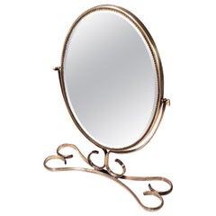 Elegant Midcentury Vanity Mirror with a Brass Frame, Italy