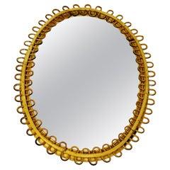 Italian Midcentury Oval Rattan and Bamboo Wall Mirror by Franco Albini