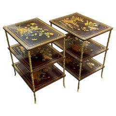 Pair of French Maison Baguès Three-tiered Chinoiserie Side Tables