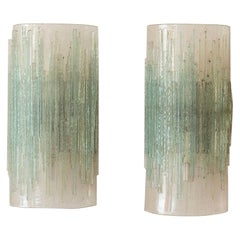 Pair of Glass Wall Lights Attributed to Poliarte, Italy