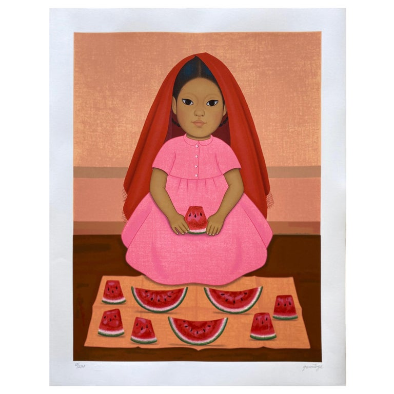 """Vintage Lithograph Serie """"Niños mexicanos"""" by Gustavo Montoya For Sale"""