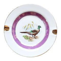 Round Ceramic Pink and Gold Pheasant Ashtray or Trinket Dish, Yoko Boeki Japan