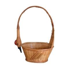 Wicker Woven Duck Motif Basket
