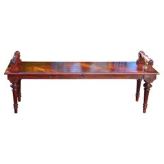 English Victorian Walnut Carved Five Foot Long Hall Bench