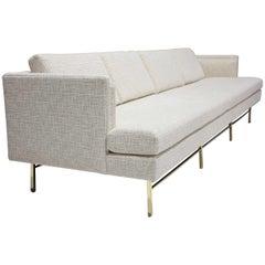 Paul McCobb Tuxedo Sofa in Off-White Chenille Fabric