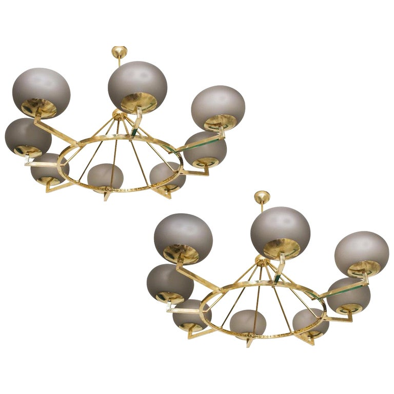 Extraordinary Brass and Grey Opaline Murano Glass Large Modern Chandelier For Sale