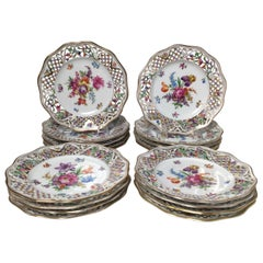 Set of 18 Hand Painted Dresden Floral Accent Plates