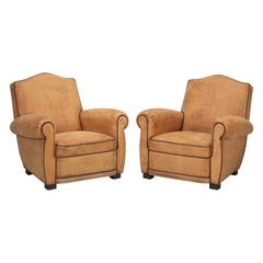 French Club Chairs Restored Internally to a High-Standard with Original Leather
