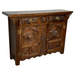 19th Catalan Spanish Hand Carved Cabinet with Two Doors and Two Drawers