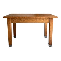Industrial Tiger Oak Library Table