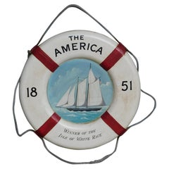 American Nautical Painted Life Ring with Sailing Vessel Isle of White Race, 1851