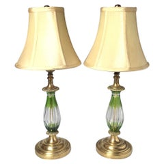 Pair of Diminutive Chartreuse Cut to Clear Glass and Brass Lamps