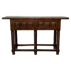 19th Century Spanish Tuscan Console Table with Two Drawers and Solomonic Legs