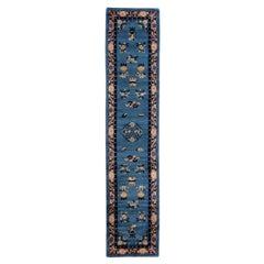 Antique Art Deco Handmade Floral Chinese Motif Blue Wool Runner
