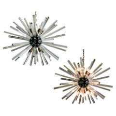 Exceptional Pair of Glass Sputnik Chandeliers, Murano