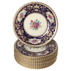 Elegant Set of 12 Cobalt and Gold Accent Plates, 1920's Marshall Field