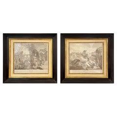Pair of Prints Finely Framed L'Hiver et Printemps