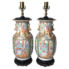 Pair of 19th Century Chinese Export Rose Medallion Urns Now as Lamps