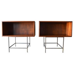 Walnut and Cane Floating Cabinets or Nightstands, ca. 1955