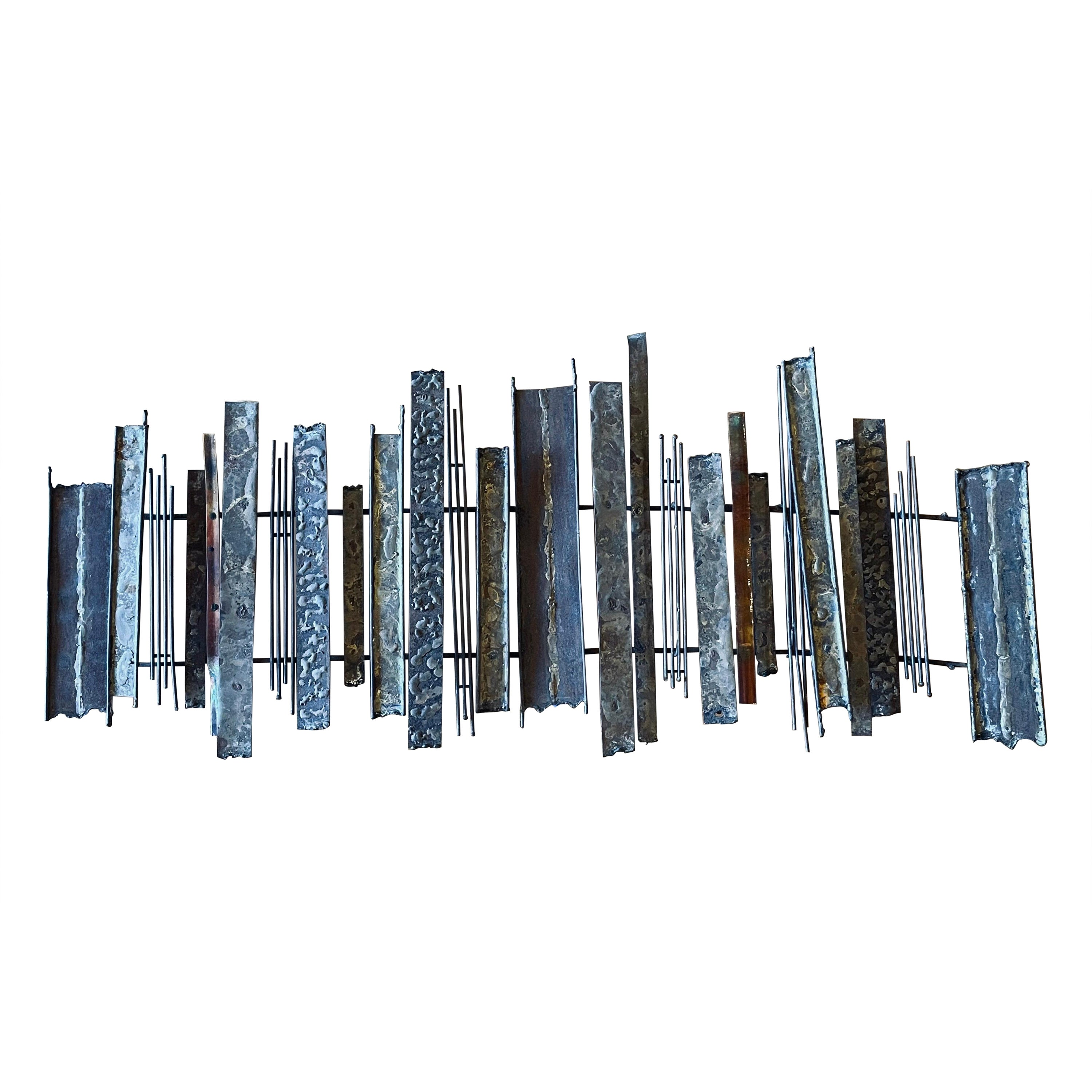 Striking Brutalist Patinated Brass and Copper & Enamel Wall Sculpture