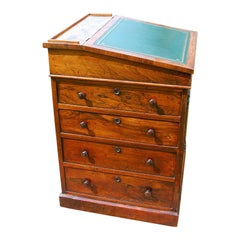 English Regency Period Rosewood Davenport Desk with Sliding Top and Ink Drawer