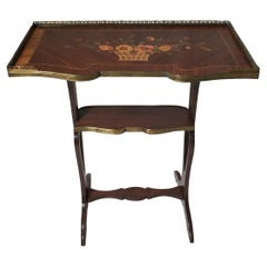 French Satinwood Marquetry Inlay Occasional Side Table
