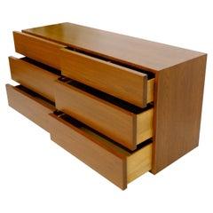 Mid-Century Modern Block Front American Walnut 6 Drawers Dresser Restored