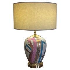 Post Modern Glazed Ceramic Table Lamp, Colorful Geometric Pattern, Japan 1980's